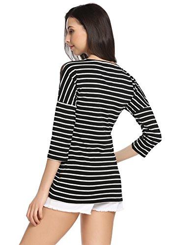Meaneor Damen Halb Ärmeln Gestreifte Shirts Bluse Sommer Oberteile Blusen Tops Sommer Baumwolle Basic T-Shirt Langarmshirt Schwarz Stripes