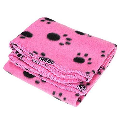 SODIAL (R) 60 * 70cm Hot Tappetino coperta da letto di pile morbido carino caldo accogliente con Zampa Stampa per cane animale domestico Gatto ( stampa Zampa rossa fondo nero)