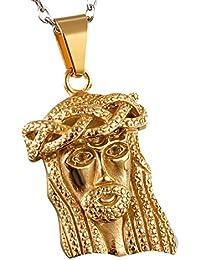 Cupimatch Luxe Doré en acier inoxydable Jésus Médaille miraculeuse  religieux Pendentif Collier avec chaîne de 55 e726ed3d418