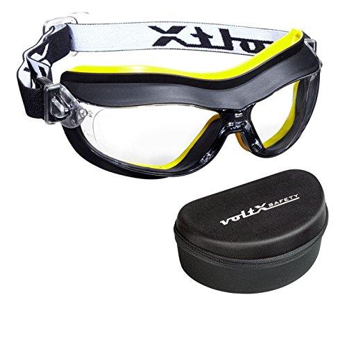 voltX DEFENDER Kompact Belüftet Schutzbrille (KLAR - Keine Vergrößerung) CE EN166FT zertifiziert, Anti-Beschlag Beschichtung + Sicherheitsetui mit steifem Clamshell Verschluss - Compact Safety Goggles
