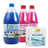 Set Toilettenzusatz für Chemietoiletten, Abwasserbehälter und Spülkasten + 1x Camp4 All Soft ideal für Wohnwagen, Wohnmobil und Boot