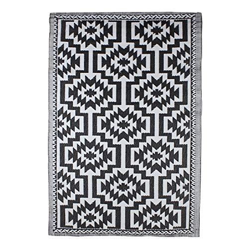 Bavaria-Home-Style-Collection Teppich Läufer Indoor - Outdoor außen aussen Wohnzimmer Teppiche für Garten Terrasse Balkon Flur Eingangsbereich schwarz weiß 120 x 180 cm -