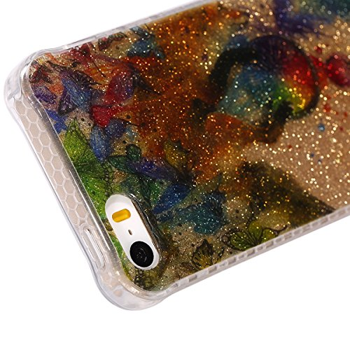 Custodia iPhone 5/5S, ISAKEN Cover per Apple iPhone 5 5S SE [TPU Shock-Absorption] - Glitter Farfalle Design Custodia Case Ultra Sottile TPU Morbido Protettiva Cassa Bumper - Glitter Farfalle blu Farfalle piuma colorate