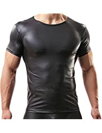 YiZYiF Camiseta Manga Corta Lencería Hombre Sexy Negro Blusa de Charol  Clubwear e0453b753d9b