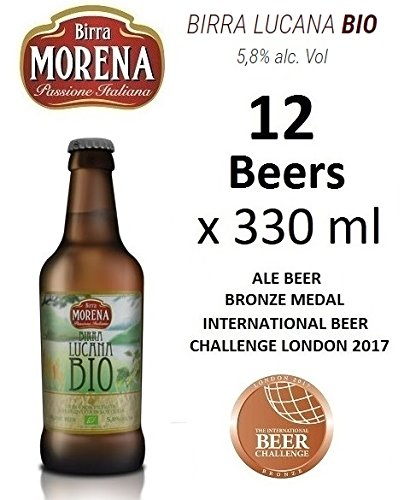 12 X Birra Morena Lucana Bio 5,8% alc vol - ml 330 -Biologica - Organic Beer - Artigianale - Craft Beer - Italian Beer - Award - Best Gift Events Christmas Easter