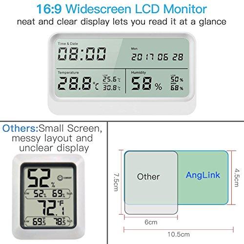 Digitales Thermo-Hygrometer, AngLink 16:9 LCD Breitbild Monitor Thermometer Hygrometer mit Datum und Uhrzeit, Luftfeuchtigkeitsmesser mit Magneten und Klappständer (Weiß) - 2