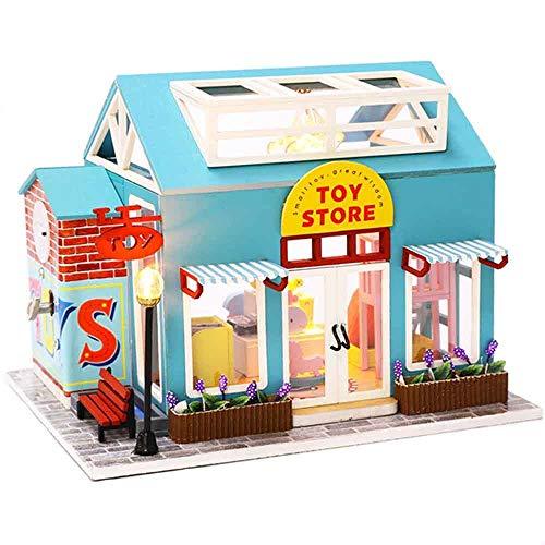 Holz Puppenhaus DIY Miniatur Modell Puzzle Puppenhaus Möbel,DIY House Craft Kits,Geburtstagsgeschenke für Jungen und Mädchen(Spielzeugladen)