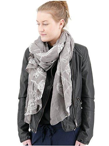 Trends für Dich Romantischer Damen Schal Tuch Halstuch mit Paisley Blumen Blüten Stickerei Stola bestickt (3094) (Grau weiß) -