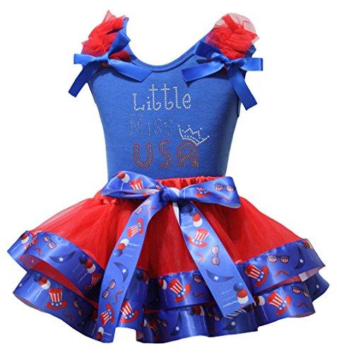 4c20fac41f6 Petitebelle Little Miss USA T-shirt américain Chapeau Pétale rouge Jupe  Ensemble Nb-8Y