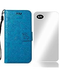 Bear Village Funda Cuero Huawei P10 Lite, Funda Soporte Plegable Case con Protector de Pantalla de Vidrio Templado Gratis para Huawei P10 Lite (#4 Azul)