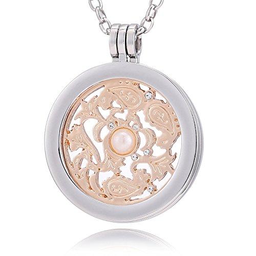 Morella® Damen Halskette 70 cm Edelstahl und Anhänger mit Coin Windornament rosegold 33 mm im Schmuckbeutel