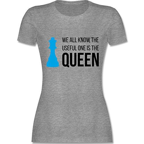 Typisch Frauen - Schach-Damen Queen - Damen T-Shirt Rundhals Grau Meliert