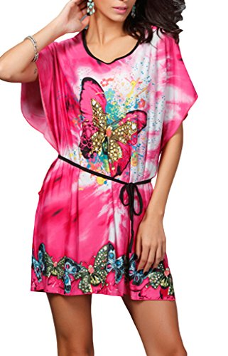 Bigood Robe de Plage Femme Soie Imité Manche Chauve-souris Col Rond Papillon Imprimé Casual Rose Rouge