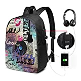 DPASIi Backpack,Blues Music Genre Old Record Electric Guitars Kiss Inscriptions Grunge