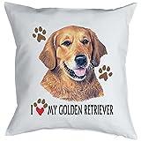 Kissen mit süßem Hunde Motiv - I love my Golden Retriever - Hundebild - Geschenk für alle Tierliebhaber und Hundefans - weiss