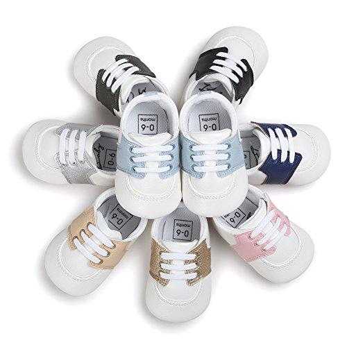Babyschuhe Krabbelschuhe Sneaker Weiche Sohle PU Baby Schuhe Unisex Kinder Wanderschuhe Weiß + Dunkelblau