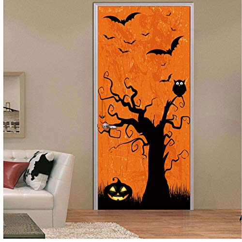 (XIGZI Türaufkleber 3D Halloween Door Sticker Horror Clown Death God Ghost Handprint Bat Transformed Werewolf Pumpkin Lantern Skull Home Decor Paste Weihnachten 77x200 cm)