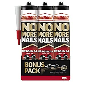 UniBond No More Nails Original High Strength Grab Adhesive / Universal adhesive for lasting results on wood, metal, brick, ceramic and other / 3 x 365g cartridge