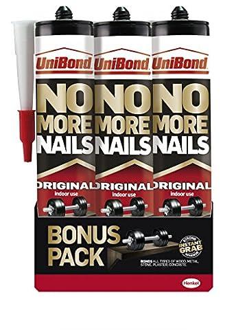UniBond 1969154 No More Nails Original Cartridge 365 g - Pack of 3
