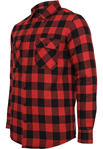 TB856 Padded Checked Flanell Light Jacket Jacke Herren Herrenjacke Blk/Red