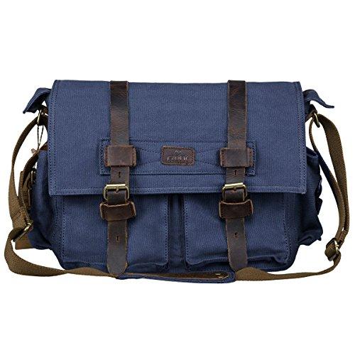 S-ZONE Vintage Canvas Leder Trim Abnehmbare Schulter Messenger Tasche Kameratasche für DSLR SLR-Kamera (Blau) (Trim Messenger)