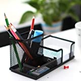 #9: Onmall Metal Mesh 3 Compartments Desk Organiser / Stationery Stand for Office, home and study table