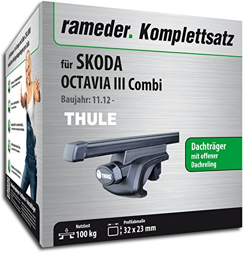 Rameder Komplettsatz, Dachträger SquareBar für Skoda OCTAVIA Combi (115961-11196-92)