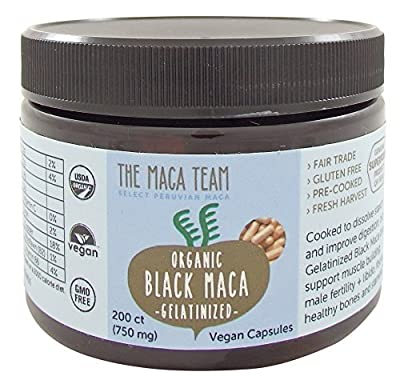 Gelatinized Black Maca Root Capsules - Certified Organic, Fresh Harvest From Peru, Fair Trade, Gmo-Free, Gluten Free And Vegan 750 Mg, 200 Ct from The Maca Team, LLC