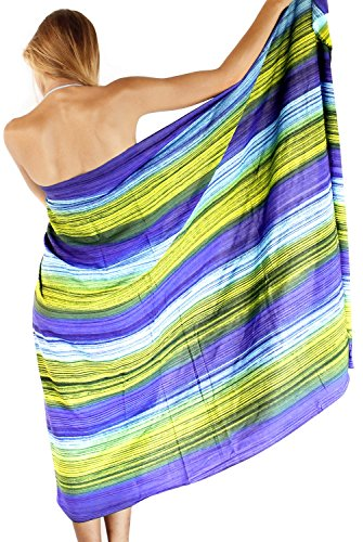 Frauen Weiche Hand Tie Dye Vertuschung Rock Bikini Wrap Badeanzug Rayon Rock Blau 3X (Lange Rayon Tie Dye Wrap)