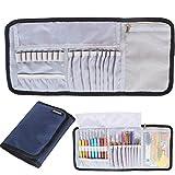 Damero Roll Up Tasche für Häkelnadeln Wrap Nähsettasche Stricknadeln Set Nadelset (kein Zubehör im Lieferumfang enthalten), Dunlkelblau
