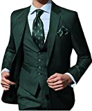 O.D.W Herren Übergrößen Anzug Männeranzug Hochzeit 3-Teilig Slim Fit Herrenanzug für Männer Business mit Sakko Weste Hose (Grün,50)