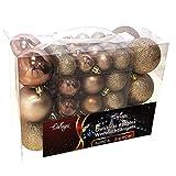 Wohaga® 1Set di 50 Palle di Natale Ø3/4/6cm plastica Champagne - Ornamento per L'Albero di Natale Decorazione di Natale Decorazione per l'abete
