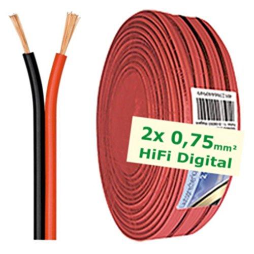 erenLINE® 50 m Lautsprecher-Kabel 2X 0,75 mm² rot/schwarz; Boxenkabel; Lautsprecher-Verlegekabel: für HiFi Anlage, Home Cinema, KFZ/Auto, Multi-Media; Meterware