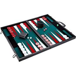 Philos 1715 - Backgammon Turniergröße, Filzinlet grün-weiß-rot, Koffer Kunstleder Backgammon