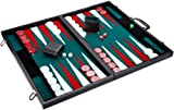 Philos 1715 – Backgammon dimensioni torneo, interno in feltro verde, bianco e rosso, valigetta in similpelle
