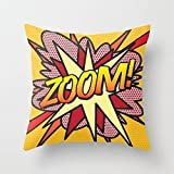 DDHHFJ 18' X 18' Comic Book Zoom Throw Pillow Cover Pillow Cases Decorative Square Cushion Cover Zopoa