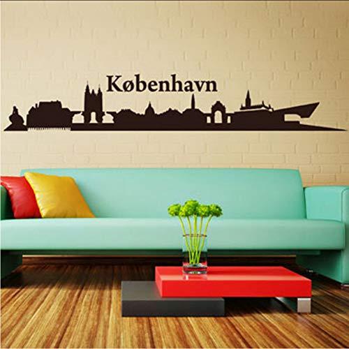 Chellonm Abnehmbare Wohnzimmer Wandkunst Dänemark Kopenhagen Silhouette Wandaufkleber Für Kinder Kinder Wohnzimmer Dekoration 174 * 29 Cm