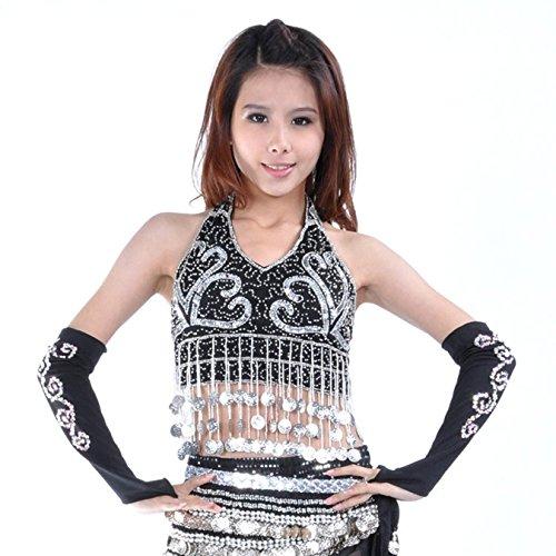 Donne Sexy Danza Tops Danza del ventre Costume Coins Bandage Bra Top Danzawear Belly Tops