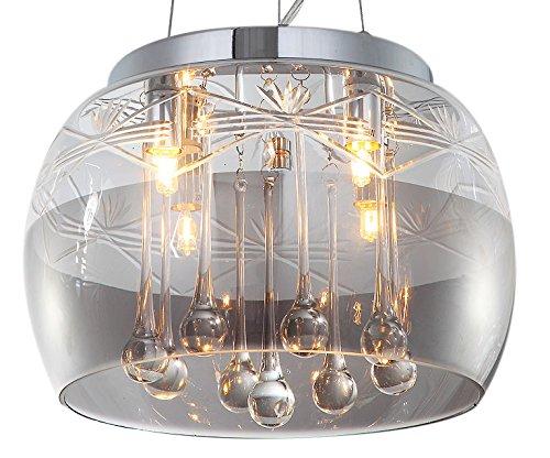 Kristall Deckenlampe Pendelleuchte Deckenleuchte Hängeleuchte Lüster Kronleuchter Esszimmer Glas Lampenschirm Design Modern 30cm 4xG9 Fassungen Glas Lampenschirme Für Deckenleuchten