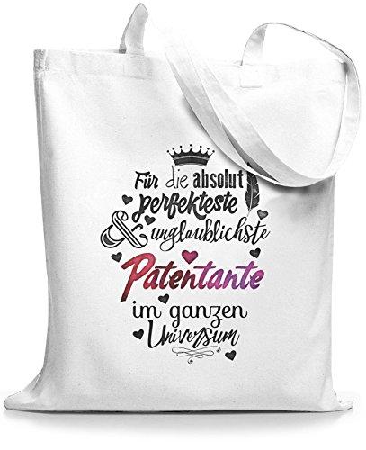 StyloBags Jutebeutel / Tasche Für die absolut perfekteste Patentante Weiß