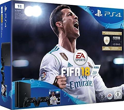 PlayStation 4 - Konsole (1TB, schwarz, slim) inkl. FIFA 18 + 2 DualShock Controller (Sony Playstation 4 Preis)