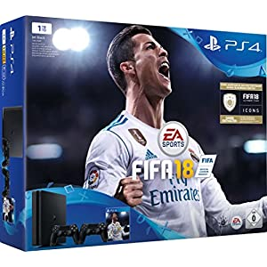 PlayStation 4 – Konsole (1TB, schwarz, slim) inkl. FIFA 18 + 2 DualShock Controller