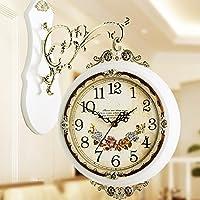 SSBY Unione-biadesivo di dimensione King soggiorno orologio mute semplicità pastorale di quarzo Orologio da parete vintage creativo retrò orologi orologio,16 pollici,Bianco