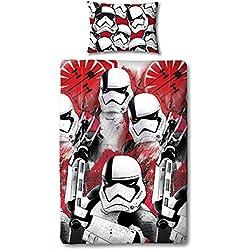 Star Wars Funda de Edredón con Funda de Almohada Reversible de Case-Two Cara Episodio 8Storm Trooper Diseño, Microfibra, Rojo, Sola