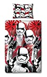 Star Wars Bettbezug mit Passendem Kopfkissen Case-Two-seitige Wende-Episode 8 Storm Trooper Design, Mikrofaser, Rot, Single