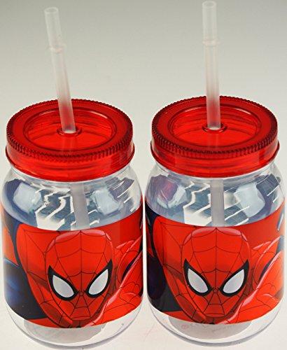 Set von 2Spiderman Trinken Marmeladenglas Becher mit Strohhalm (Mason Jar-cup Für Kinder)