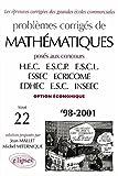 Mathématiques HEC 1998-2001, tome 22, option économique