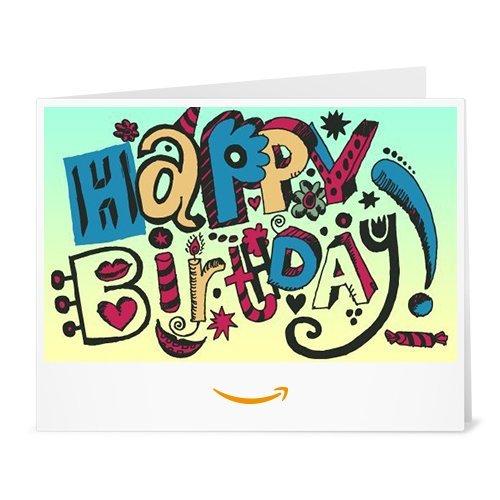 Amazon.de Gutschein zum Drucken (Happy Birthday Doodle Englisch)