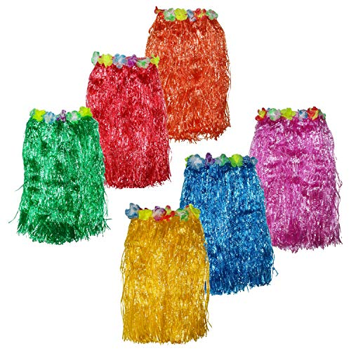 Hawaii Rock 6er Set - 60cm Lang Bastrock - Hula Rock - Deko Röcke für Kinder in 6 Bunten Farben - zum Party Outfit, Tropical & Karneval - Hawaii Kostüm ()