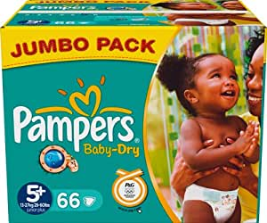 Pampers Baby Dry Size 5+ (Junior) Jumbo Pack 66 Nappies